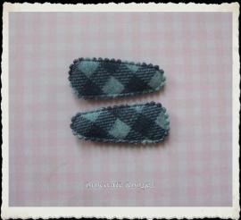 (HOBr-014) 2 hoesjes - baby - ruitje - denim blauw