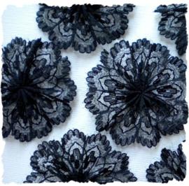 (Blro-006b) Bloem-rozet - kant - zwart - 4cm
