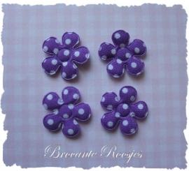 (BLsk-005) 4 bloemen - stippen - katoen - paars - 22mm