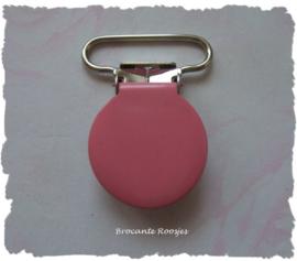 (SPe-007) Speenkoord clip - metaal -  rond - roze - 2,5cm