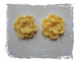 (BLh-047 2 gehaakte bloemetjes - geel - 25mm