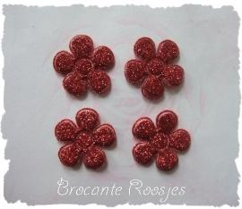 (BLGL-016) 4 glitter bloemetjes - rood - 2cm