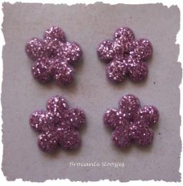 (BLGL-007) 4 glitter bloemetjes - lila/paars - 13mm