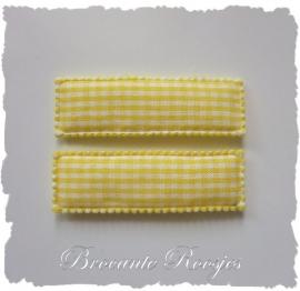 (HO-RE-R-006) 2 hoesjes - recht - ruitje - geel