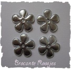 (BLd-045) 4 satijnen bloemen - zilver - 35mm