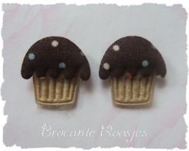 (O-007) 2 Cupcake applicaties - bruin - 2cm