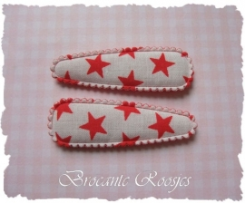 (HOd-033) 2 hoesjes - sterretjes - rood - 55mm