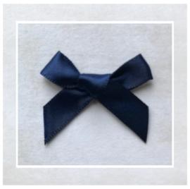 (S-002) Strikje - satijn -  donker blauw - 3.5cm