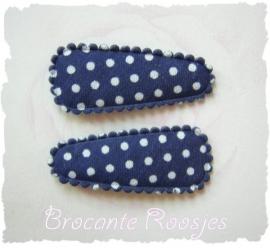 (HOBs-013) 2 hoesjes - baby - stipje - katoen - donkerblauw