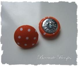 (SK-015) Stofknoopje - 18mm - stipje - oranje