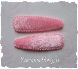 (HOe-032) 2 hoesjes - fluweel - licht roze - 55mm