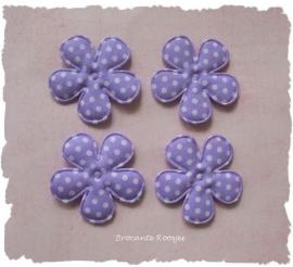 (BLsk-015a) 4 bloemen - katoen - stippen - katoen - lila - 35mm