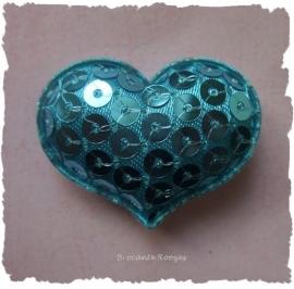 (H-044) Hart - pailletjes - aqua - 4cm