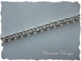 (J-001) Jasseron ketting - 3mm - zilver -  per 10cm*