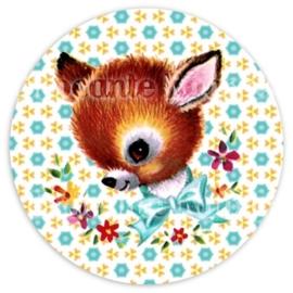 (FB-002) Flatback button - hertje - bloemetjes - aqua