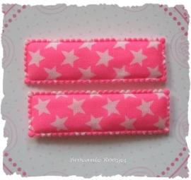 (HO-RE-D-003) 2 hoesjes - recht - sterretjes - fel roze