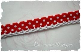 (BI-022) Biaisband met kantje - stipje - rood