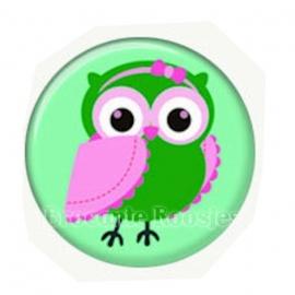 (FB-020) Flatback button - uiltje - groen