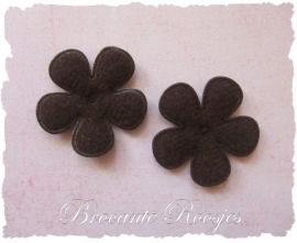 (BLV-020) 2 vilten bloemetjes - bruin - 35mm