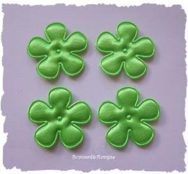 (BLE-026a) 4 satijnen bloemen - lime groen - 25mm