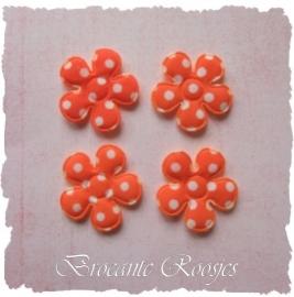 (BLsk-006) 4 bloemen - stippen - katoen - oranje - 22mm