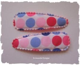 (HOS-027) 2 hoesjes - grote stippen - roze/blauw - 55mm