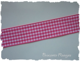 (RU-031) Ruitjesband - fuchsia - 25mm
