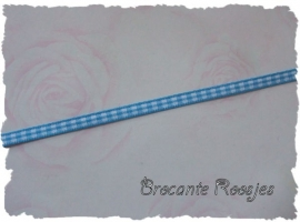 (RU-005) Ruitjesband - aqua - 5mm