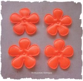 (BLE-049a) 4 satijnen bloemen - neon oranje - 35mm