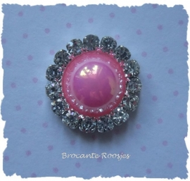 (FLp-016) Flatback - parel - strass - roze - 15mm
