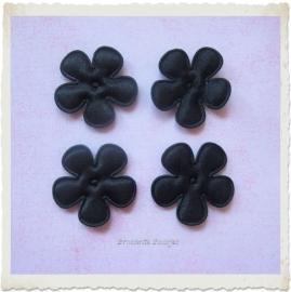 (BLE-029b) 4 satijnen bloemetjes - zwart - 25mm