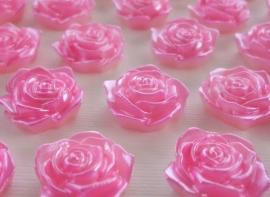 (FLr-021) Flatback - roosje - roze - 17mm