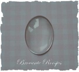 (B-020) Flatblack-glas - ovaal - voor ovale hanger - 24x18mm