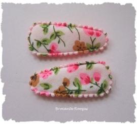 (HOBd-015) 2 hoesjes - baby - bloemetjes - roze/l. bruin - 35mm