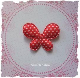 (V-019) Vlinder - polka dot - rood - 4cm