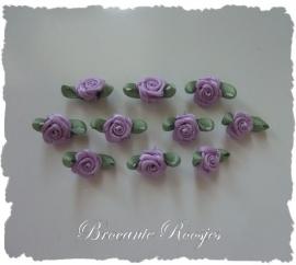 (Rb-014) 10 satijnen roosjes met blaadje - lila - 17mm