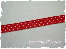 (STG-003) Stippenband - grosgrain - rood - 10mm