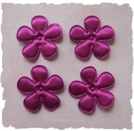 (BLE-045) 4 satijnen bloemen - d. cerise - 35mm