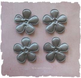 (BLE-054a) 4 satijnen bloemen - grijs - 35mm