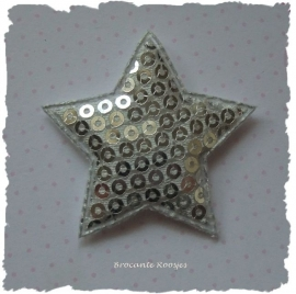 (Ster-057) Ster - pailletjes - zilver - 4cm