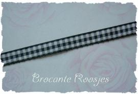 (RU-028) Ruitjesband - zwart - 10mm