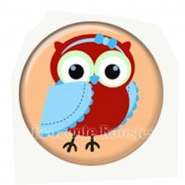 (FB-018) Flatback button - uiltje - zalm