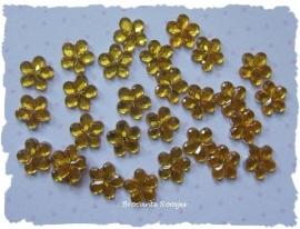 (FL-bl-004) Flatback - bloemetje - strass - geel - 6mm