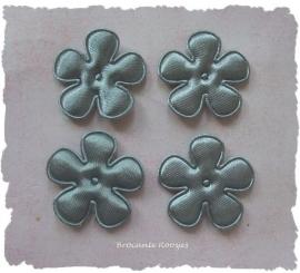 (BLE-029a) 4 satijnen bloemetjes - grijs - 25mm