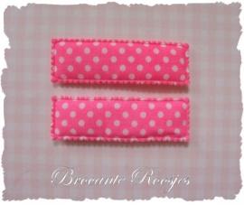 (HO-RE-S-001) 2 hoesjes - recht - stipje - fel roze