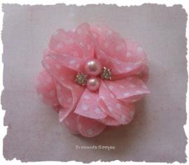 (BLzc-038) Chique bloem - pareltjes & strass - stipje - zacht licht roze - 5cm