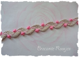(Z-004) Zigzagband - roze/wit/goud