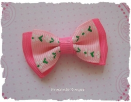 (Sd-015a) Strik - grosgrain - roze/fuchsia - bloemetjes - 45mm
