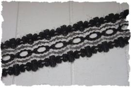 (K-024) Bloemetjeskant - zwart - 25mm