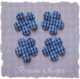 (BLr-001e) 4 geruite bloemetjes - koren blauw - 22mm